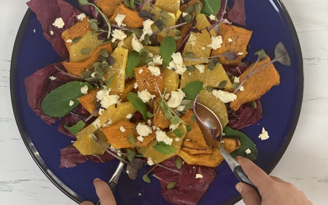 Zesty Orange and Goat's Cheese Salad with Roasted Pumpkin